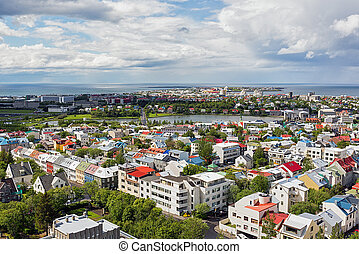 Aerial view over Reykjavik city in summer.