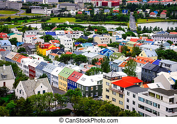 Reykjavik city bird view of colorful houses, Iceland