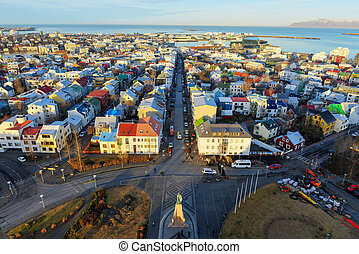 Reykjavik, Iceland cityscape. View of the city from the top of the Hallgrimskirkja Church in the winter.