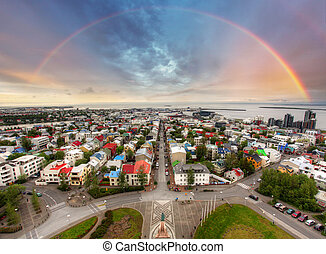 Reykjavik cityspace with rainbow - Reykjavik cityspace