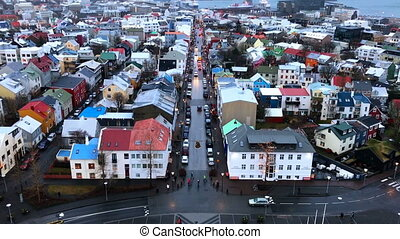 Reykjavik downtown aerial, Iceland in winter time