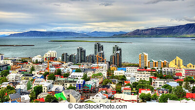 Reykjavik from top of the Hallgrimskirkja church - View of...