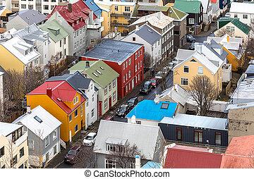 Reykjavik ICeland - Aerial view of Reykjavik city, Capital...