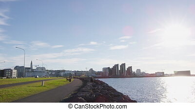 Reykjavik Iceland waterfront harbor promenade on beautiful sunny summer day.