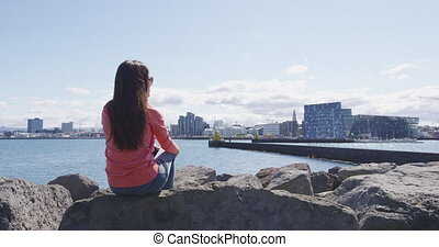 Reykjavik Iceland waterfront harbour area view of downtown Reykjavik in summer