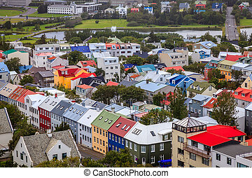 Bird's eye view of downtown Reykjavik from the observation deck of Hallgrimskirkja church