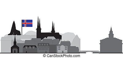 reykjavik skyline in  island with rooftops and church