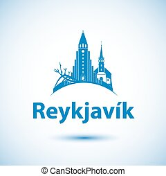 Reykjavik skyline - vector illustration