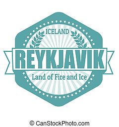 reykjavik, stämpel, island, etikett, huvudstad, eller