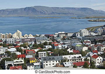 Reykjavik - View of Reykjavik and Faxafloi bay