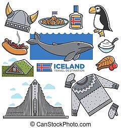 reykjavik, touriste, icônes, culture, islande, voyage, célèbre, vecteur, attractions, tourisme, repères