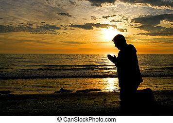 rezando, a, dios