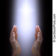 rezando, a, el, divino, espíritu