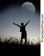 rezando, a, la luna