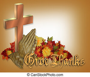 rezando, acción de gracias, tarjeta, manos