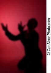 rezando, concepto, mendigar, desesperación