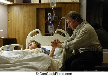 rezando, en, hospital