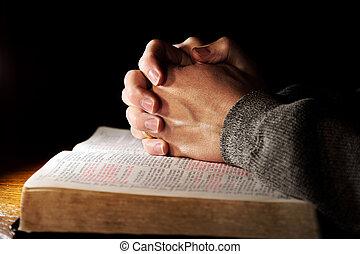 rezando, encima, biblia, santo, manos