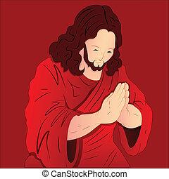 rezando, jesucristo, ilustración