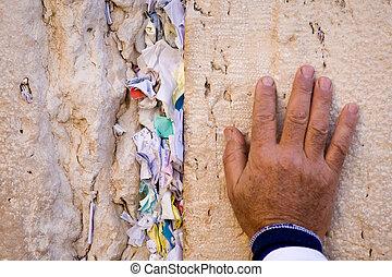 rezando, judío, mano