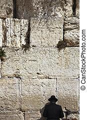 rezando, judío, pared, occidental, jerusalén, religioso