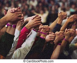 rezando, juntos, hombres