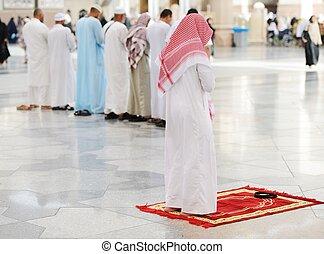 rezando, musulmanes, mezquita, juntos, santo
