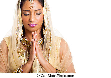 rezando, ojos, mujer, indio, cerrado