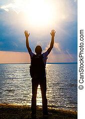 rezando, persona, Al aire libre