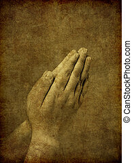 rezando, plano de fondo, manos