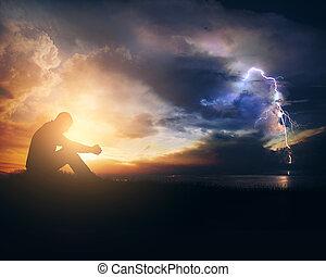 rezando, por, el, tormenta