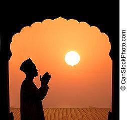 rezando, silueta, desierto, musulmán, macho