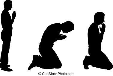 rezando, siluetas, hombres
