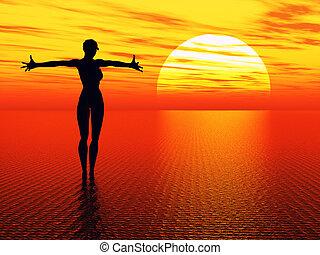 rezando, sol, mujer, alcanzar