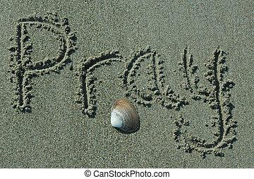rezar, areia, -, escrita