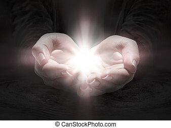 rezar, luz, -, crucifixo, mãos