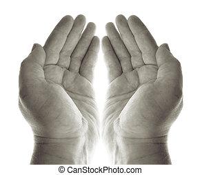 rezar, mãos