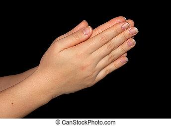 rezar, mãos, isolado, ligado, pretas, com, clipping-path, included