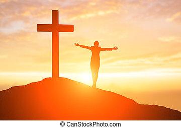 rezar, mulher, conceito
