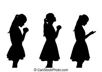 rezar, mulher, silueta