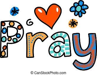 rezar, texto, expressão, caricatura