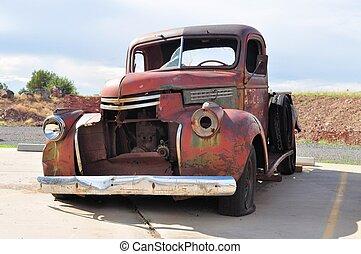 rezavý, vagón roztříštit se, v, tra 66, arizona, usa