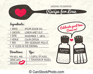rezept, wedding, kreativ, liebe, einladung