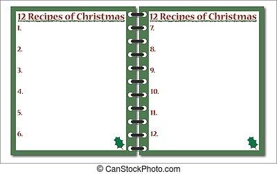 rezepte, 12, notizblock, weihnachten