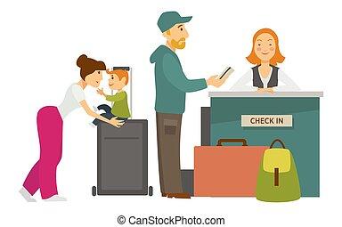 rezeption, einchecken, flughafen, familie, mit, gepäck, und, empfangsdame