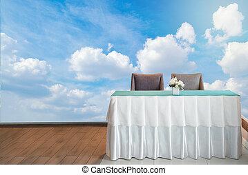 rezeptionsplatte, mit, blauer himmel, hintergrund