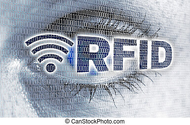 RFID eye with matrix looks at viewer concept.