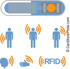 RFID - Implantable Radio Frequency Identification tag Icon...