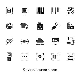 RFID, qr code, barcode flat icon set. Price tag scanner, label reader, identification microchip black silhouette vector illustration. Simple glyph signs retail safety application