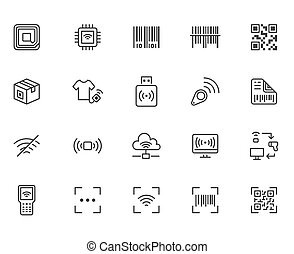 RFID, qr code, barcode line icon set. Price tag scanner, label reader, identification microchip vector illustration. Simple outline signs retail safety application. Pixel Perfect Editable Stroke